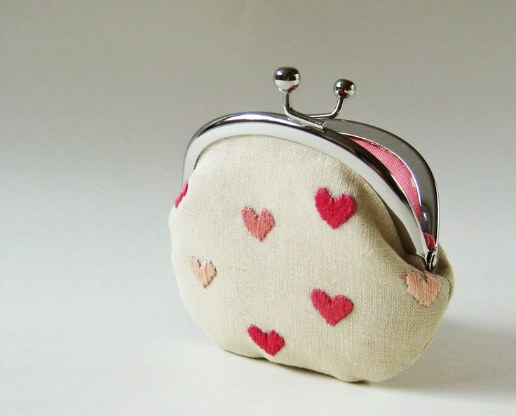 pink hearts on linen coin purse