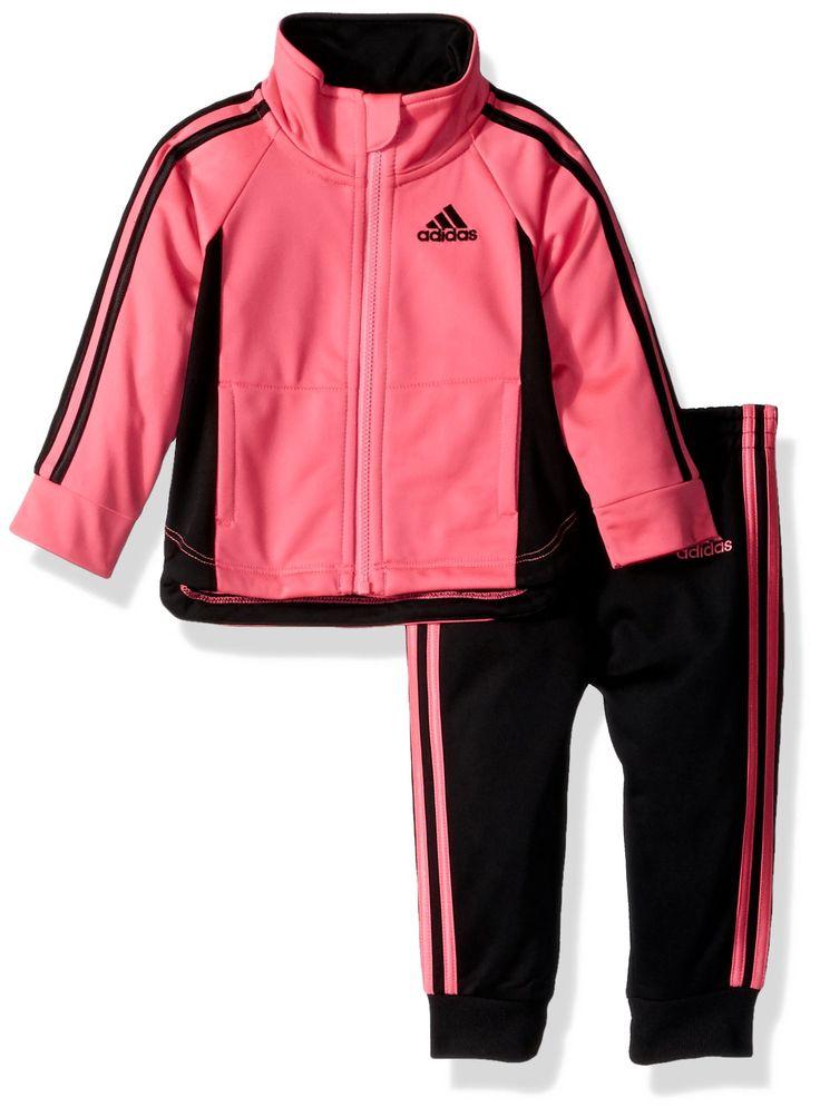 Adidas Baby Girls' Zip Jacket and Pant Set, Solar Pink Jog, 18M