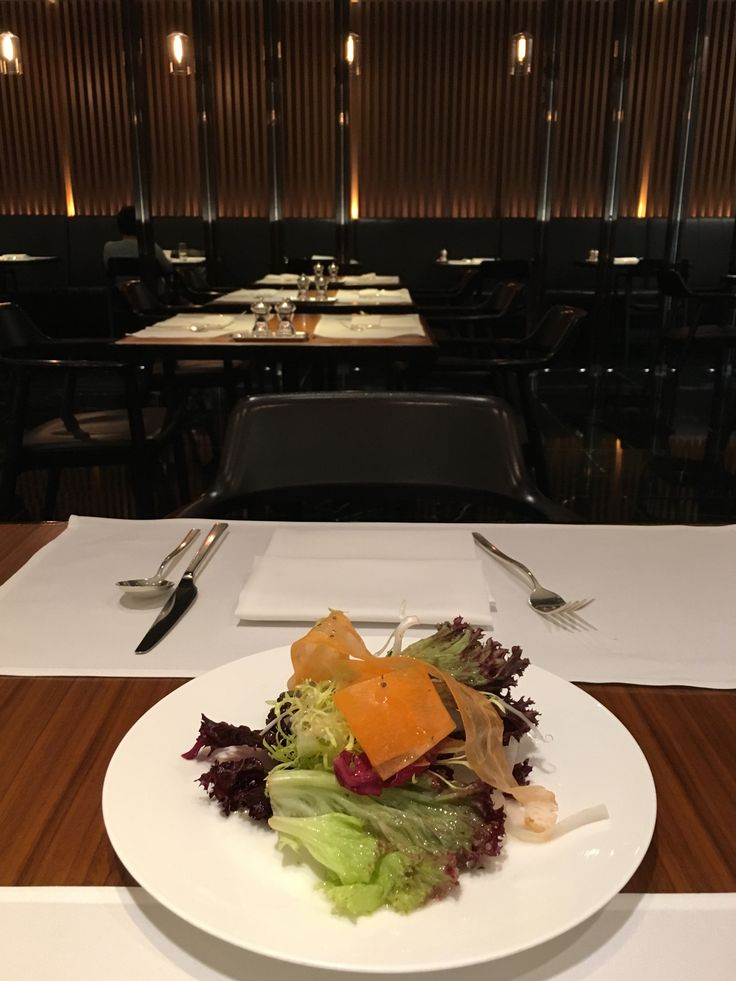 Leafy salad with Italian dressing, Cathay Pacific first class lounge, Hong Kong