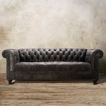 "Berwick 88"" Tufted Leather Sofa In Bull Grey 
