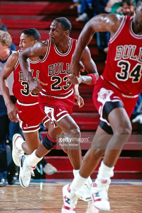Michael Jordan #23 of the Chicago Bulls runs against the Sacramento Kings during a game played on February 1, 1988 at the Arco Arena in Sacramento, California.