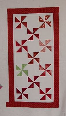 Pinwheel Table Runner with Candy Cane Binding - from the blue chair - Wed, Oct 19