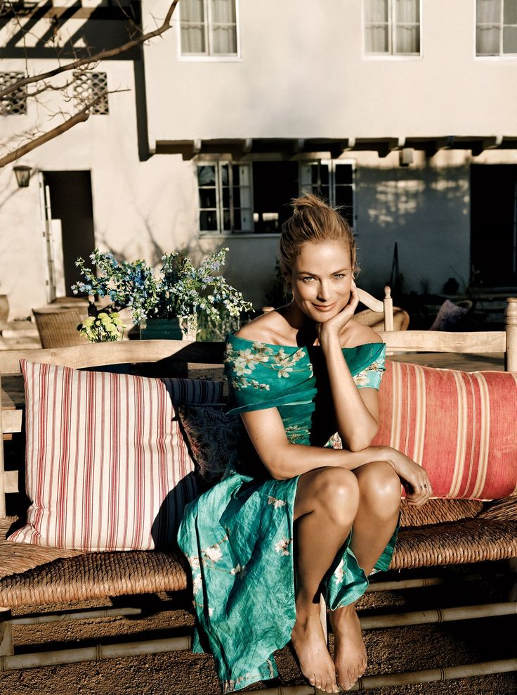 Carolyn Murphy at home in Los Angeles photographed by Annemarieke Van Drimmelen, Vogue, March 2012.