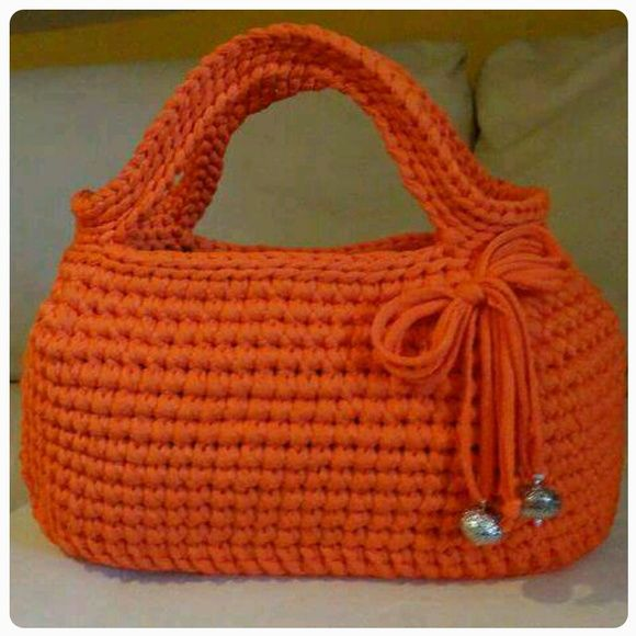 Bolsa de mão crochet fio de malha                              …