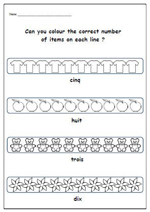 french numbers worksheet with colouring activity school supplies printable exercises learn. Black Bedroom Furniture Sets. Home Design Ideas