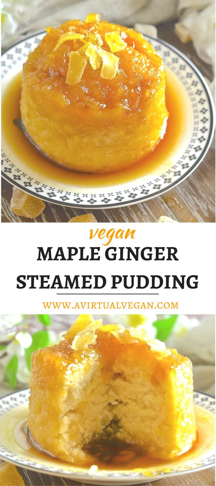 Wonderfully comforting, beautifully sticky Maple Ginger Steamed Pudding. A dream to eat and so easy to make!  via @avirtualvegan