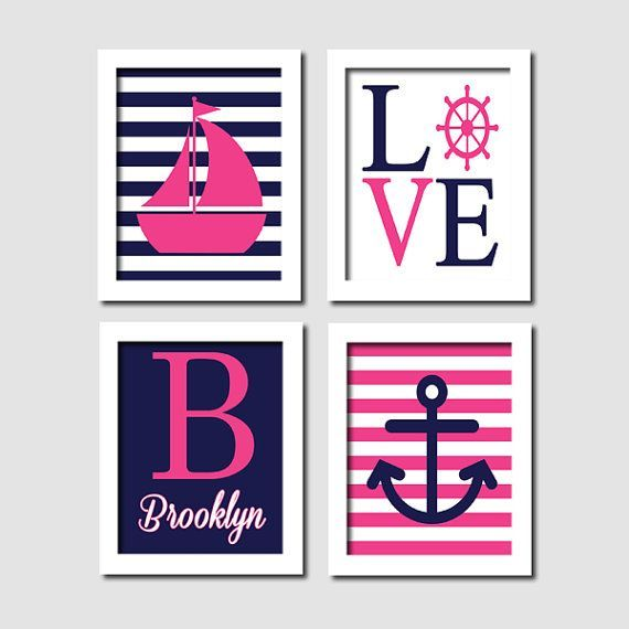Nautical Nursery Wall Art, Prints Or Canvas, Hot Pink Navy