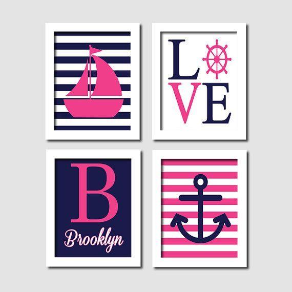 Nautical Nursery Wall Art, Prints Or Canvas, Hot Pink Navy ...