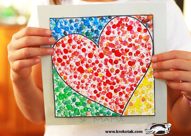 Valentine's day art? Dot art with the end of pencils, and lots of  printable…
