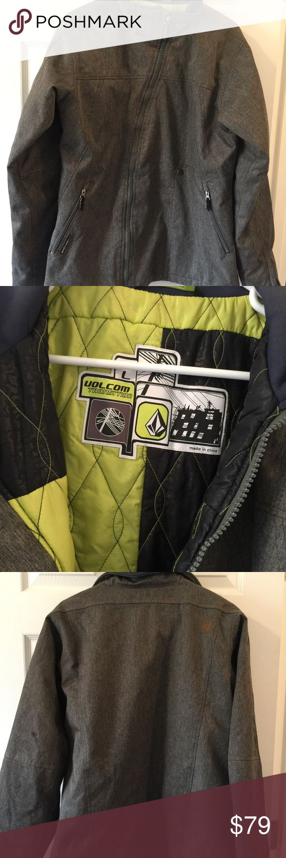 Men's dark gray Volcom ski jacket L Awesome jacket for Snow condition Cold weather Size L Volcom waterproof has glove tie in sleeves  Great condition Volcom Jackets & Coats Ski & Snowboard