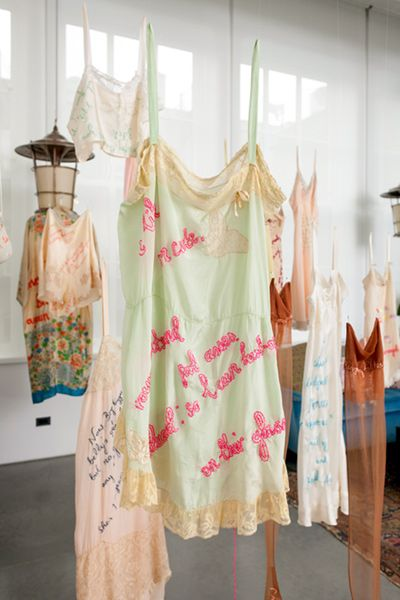 Zoë Buckman - Every Curve: Work in Progress embroidery on vintage lingerie explores the both contradictory and complementary influences of feminism and hip-hop in her upbringing.