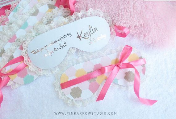 Pijama party Invitation  spa Invitation  golden by PinkArrowStudio