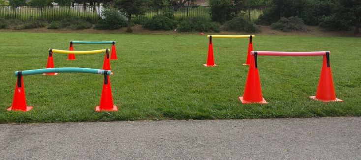 Make your own Hurdles - pool noodles, duct tape & cones.