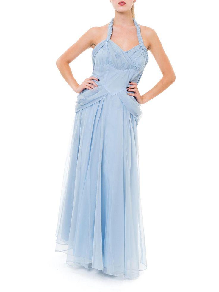 Flouncy Powder Blue Halter Strap Princess Dress