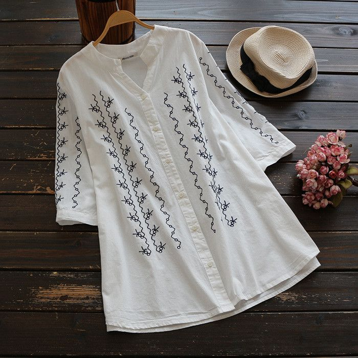 When the look is fire,the love is free.       ---CCS018 Details: Embroidered craft Long shirt design Button up Casual style Regular wash Fabric: 100%Cott