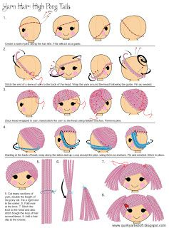 Amigurumi Yarn Rag Doll Hair - Tutorial  ❥ 4U // hf