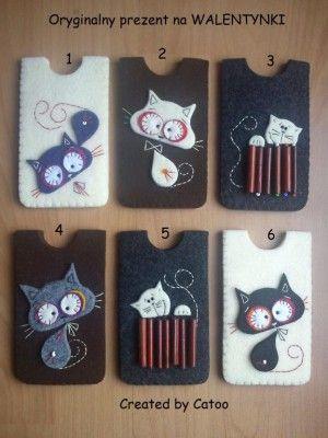 telefoonhoesjes van vilt met katjes, erg leuk