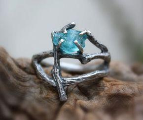 Apatita declaración rama anillo crudo piedras preciosas en