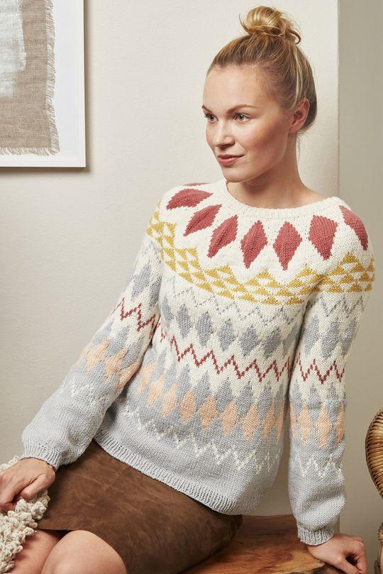 Women's colourwork sweater with Novita Wool Cotton #knitting #knitwear #knit #sweater https://www.novitaknits.com/en