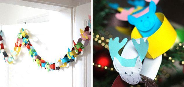 Guirnalda de papel para decorar la casa en navidad con - Decorar casa navidad manualidades ...