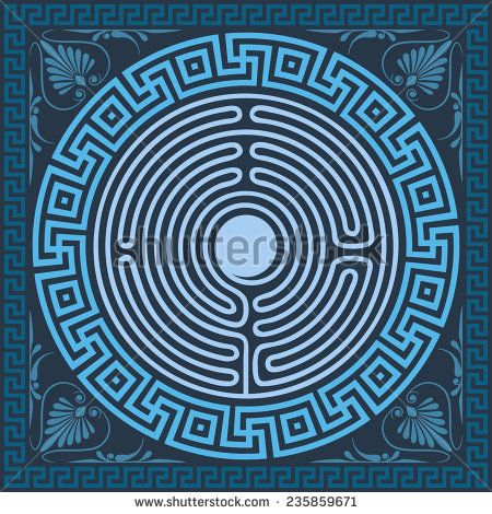 Vector set Traditional vintage blue square and round Greek ornament (Meander), labyrinth and floral pattern