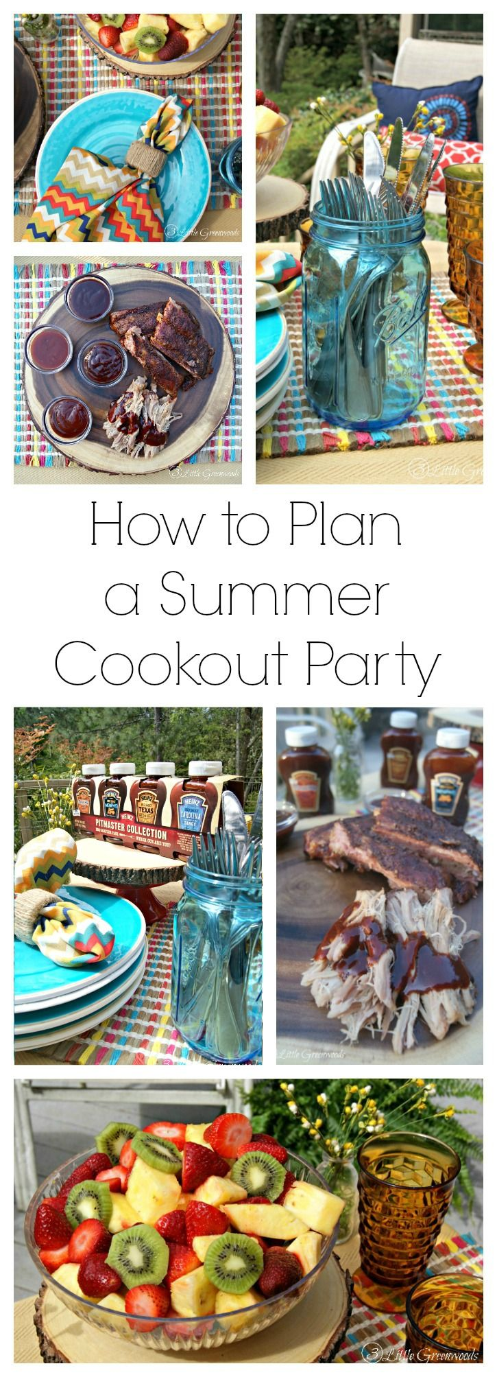 Sharing is Caring! Celebrate Memorial Day, Fourth of July, and summertime! Here's how to throw a Summer Cookout Party! Summer tablescape ideas, cookout menu, and a Southern smoked bbq recipe! // 3 Little Greenwoods Sharing is Caring!