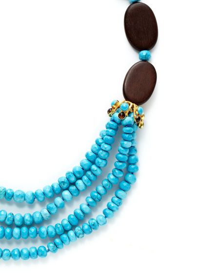 Wood & Turquoise Bead Bib Necklace by Bounkit at Gilt