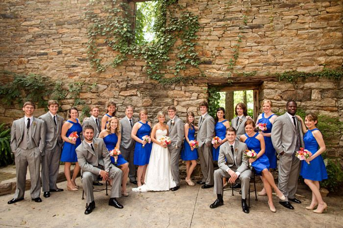 large bridal party pose