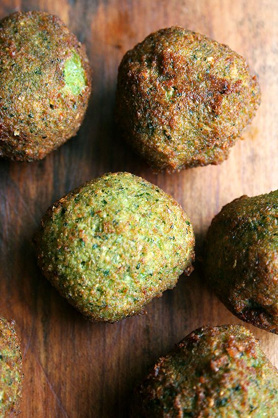 Homemade Falafel — these are made with dried favas (soaked, never cooked), but chickpeas would work well here.