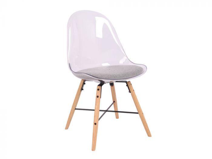 Chaise Scandinave En Plastique Blanc Et Pieds En Bois Lot De 2 Hossa Chaise Scandinave Chaise Chaise Transparente