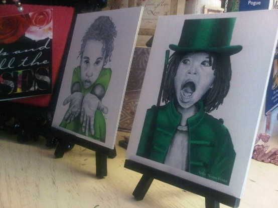 Green Girl 2 & Green Boy 1 on small easels