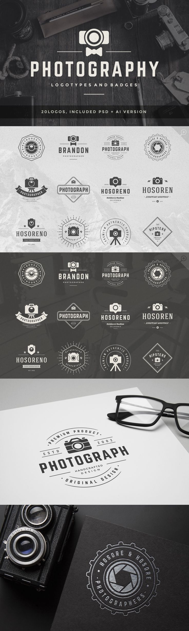 20 Photography Logos and Badges Templates PSD #design Download: https://creativemarket.com/VasyaKo/362199?u=ksioks http://jrstudioweb.com/diseno-grafico/diseno-de-logotipos/