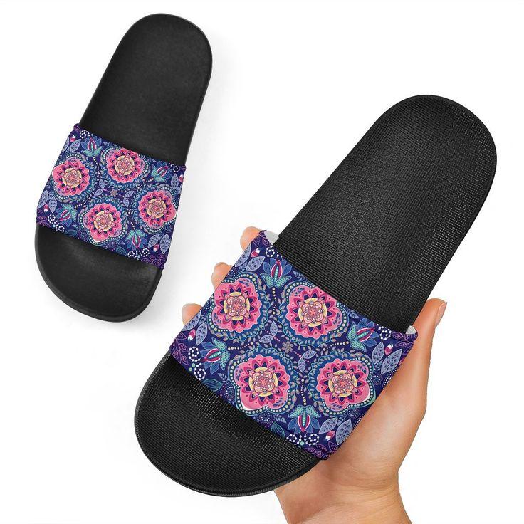 Ornamental Paisley Mandala Print Black Slide Sandals