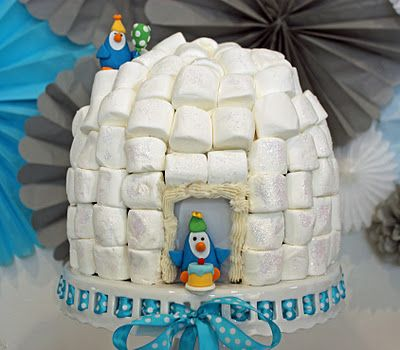 Cool Igloo cake for Penguin party