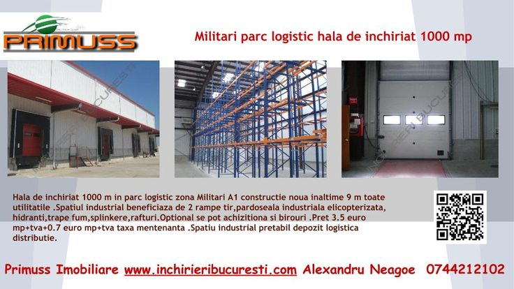 http://www.inchirieribucuresti.com/inchirieri-spatii-industriale/militari.html  Hale de inchiriat in parcuri logistice si industriale din zona Militari A1 Bucuresti Pitesti