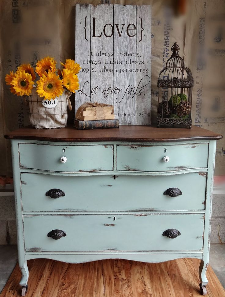 {createinspire}: Almost Duck Egg Dresser. Love the rustic finish!
