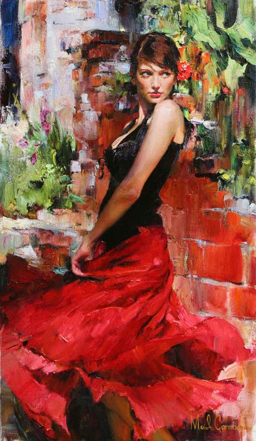 Original Painting, Red Passion by Michael & Inessa Garmash