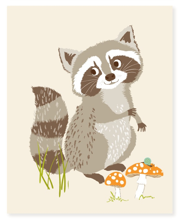 raccoon - art print. $15.00, via Etsy.: