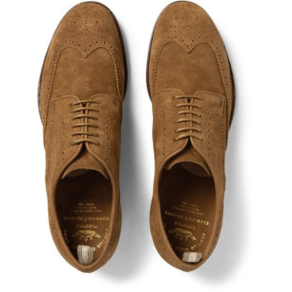 Officine Creative Princeton Suede Wingtip Brogues ($685) ❤ liked on Polyvore featuring men's fashion, men's shoes, men's oxfords, mens leather sole shoes, mens brogue shoes, mens wing tip shoes, mens suede shoes and mens tan suede shoes