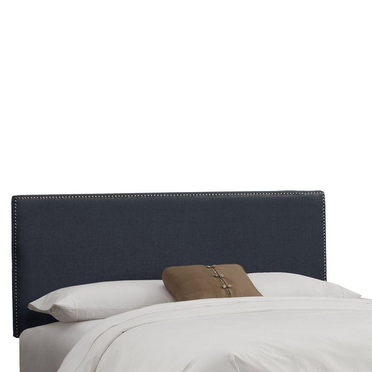 Skyline Arcadia Nailbutton Linen Headboard - Queen - Skyline Furniture, Linen Navy