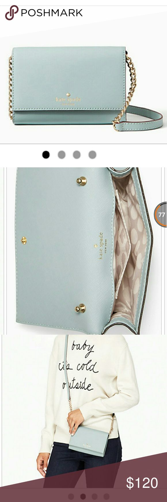 "Kate spade crossbody PLUS FREE GIFT bag/card Brand new with tag kate spade crossbody in color sky blue   Great gift for that special someone; Valentine's Day is coming! Get this Kate Spade cross body and you also get Free Gift bag with tissue and a blank card and envelope   4.5"" h x 6.2"" w x 1"" d drop length: 23.6""  crossbody bag with detachable strap and snap   closure  gold foil emboss with floating metal Spade  dust bag included kate spade Other"