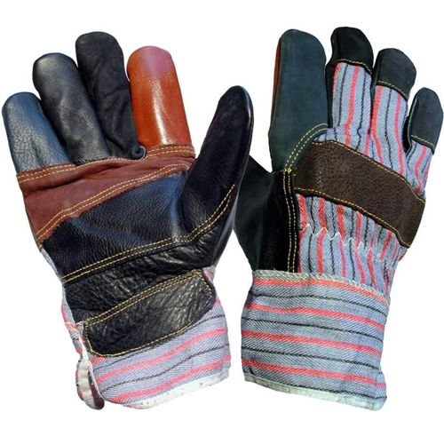Rainbow coloured hide rigger glove