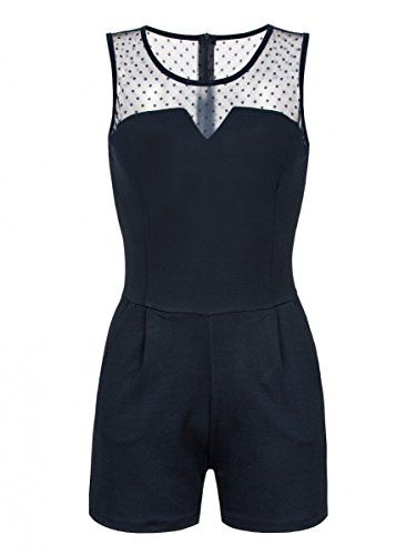 42c50f199e5671 Laeticia Dreams Damen Kurz Overall Catsuit Jumpsuit Spitze Ärmellos S M L  XL Farbe:Marineblau;Größe