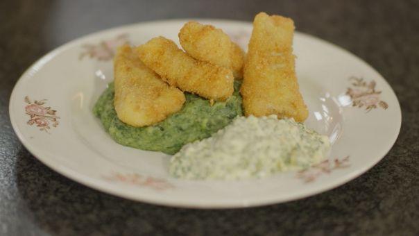 Eén - Dagelijkse kost - fish sticks met tartaarsaus en spinaziepuree