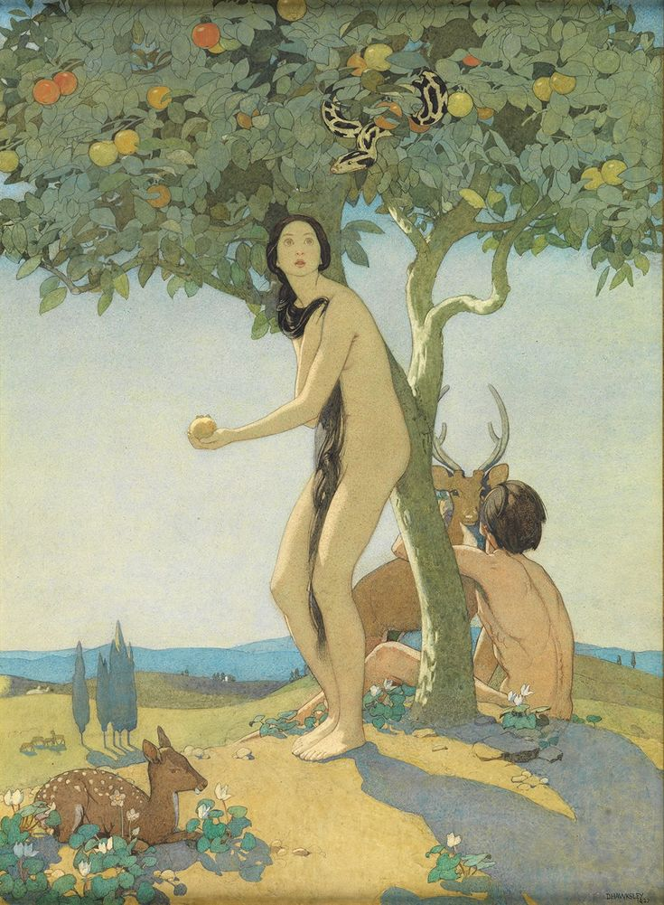 Dorothy Webster Hawksley, 1884-1970 Eve  Watercolour, pencil, and body colour, heightened with white; signed and dated 1927.  19.75 x 14 inches