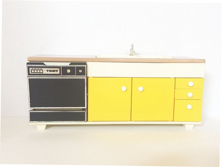 #SOLDOUT - but there may be fabulous midcentury like me in the Soaring Hawk Vintage Etsy Shop!  #Tomy Doll House Vintage #Dishwasher Sink Kitchen Cabinet #Midcentury 1970s Yellow Faux Wood Dollhouse 1:12 Scale Made in #Japan available at #SoaringHawkVintage on #Etsy