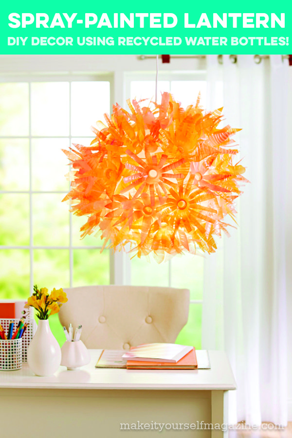 Put empty plastic water bottles in the spotlight by shaping them into an assortment of contemporary flowers, spray-painting the petals, and adhering them to the outside of a paper-globe lantern.
