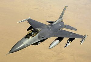 """The F-16 """"Fighting Falcon"""" is a multi-role jet fighter aircraft originally developed by General Dynamics for the United States Air Force. Designed as an air superiority day fighter, it evolved into a successful all-weather multi-role aircraft. The F-16 is also used by the Air Force's aerial demonstration team, the Thunderbirds."""