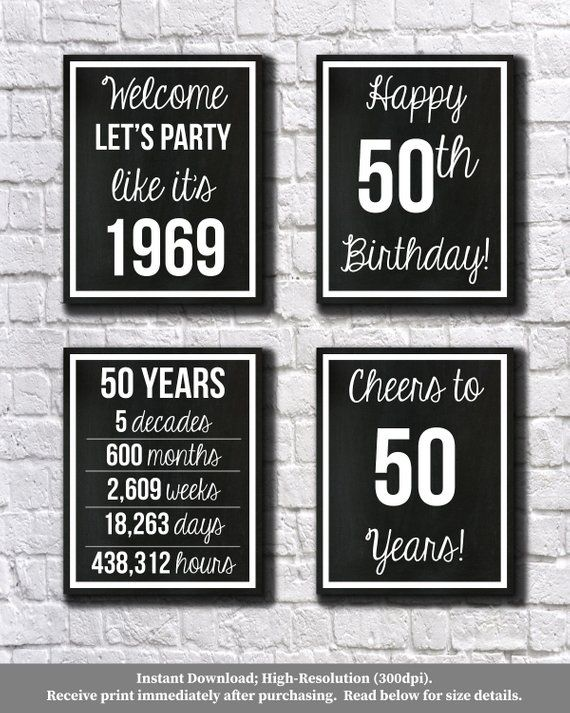 6519101f85b41 50th Birthday Black and White 1969 Signs