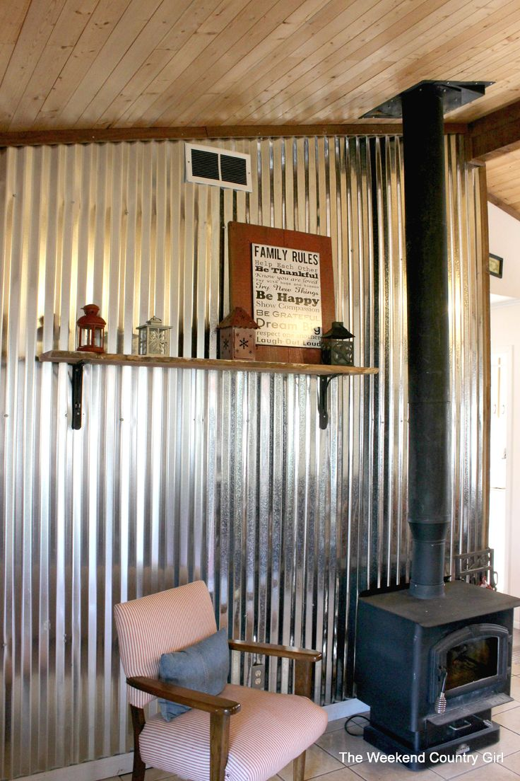 Kitchen With Corrugated Metal Backsplash